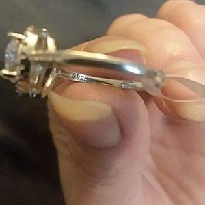 Fine Jewelry Jewelry - 925 Sterling Silver 'Halo' Lab Created Diamond Rin